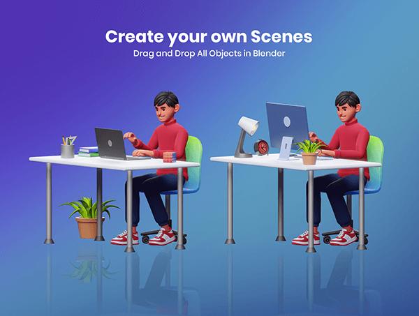 4种不同风格3D人物角色卡通IP素材包(Blender)