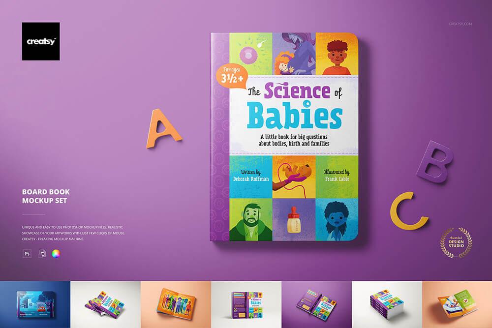 儿童卡通可爱厚页书籍样机PSD素材包