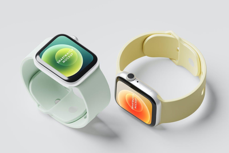 一套少见的智能手表产品PSD样机素材