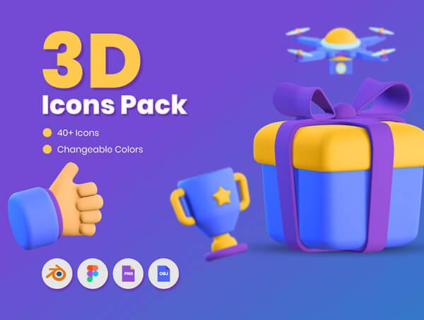 40个经常用到的3D图标素材包