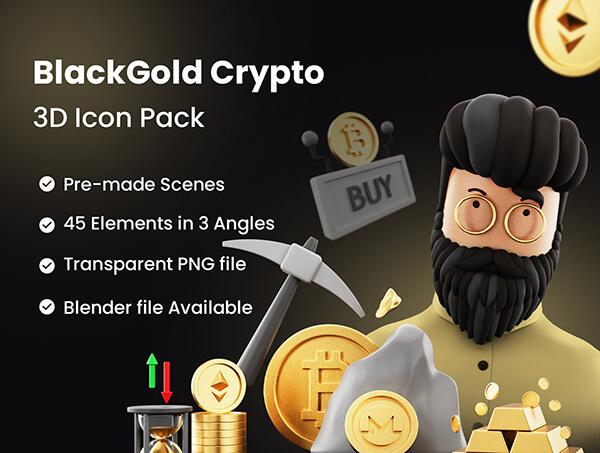250+非常有质感的金色加密货币3D图标素材包(Blender)