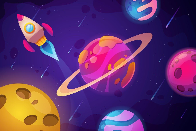 一套抽象彩色绘画太空背景素材