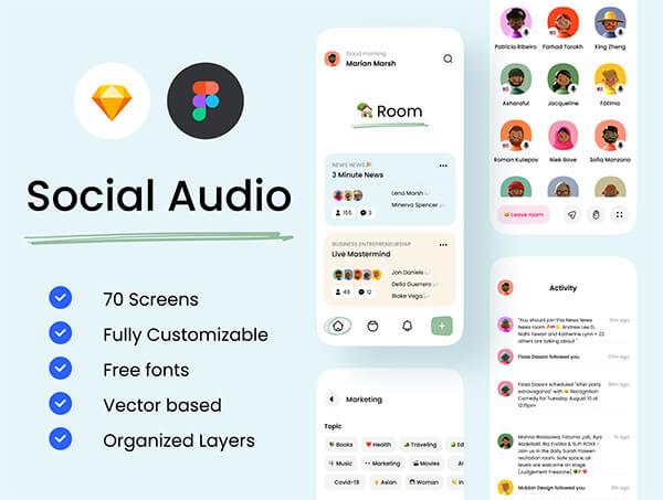 70个细节满满的音乐社交主题类APP UI界面