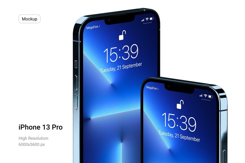 一套有质感的iPhone 13 Pro手机展示样机PSD素材模型