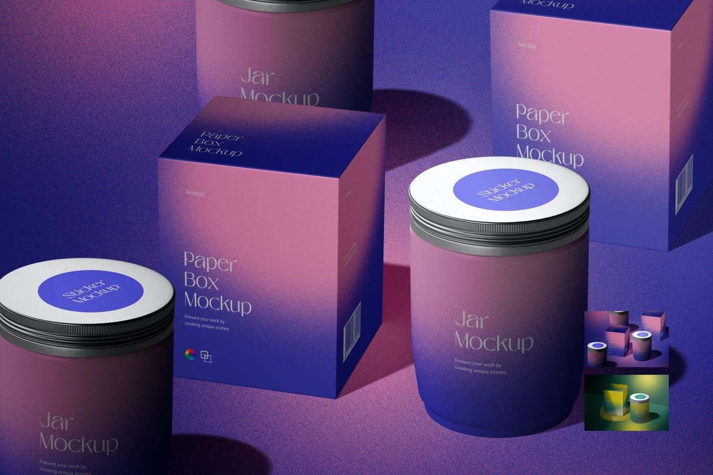 一套设计绚丽的渐变包装罐子场景PSD模型素材