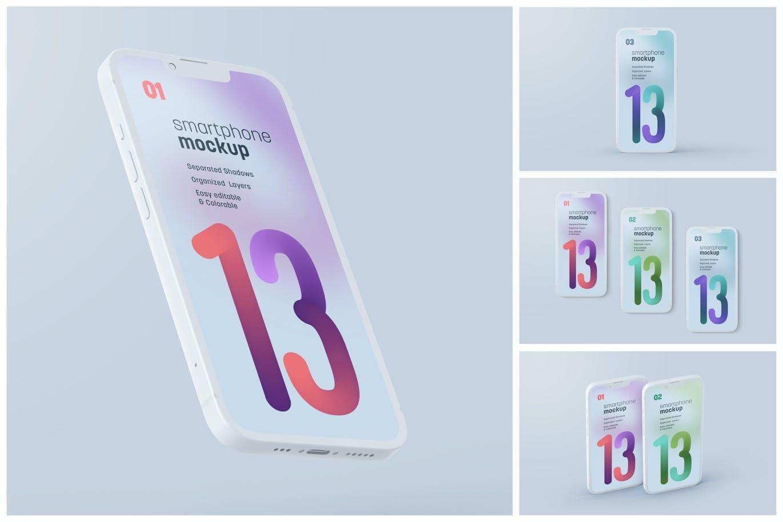 4种不同角度高品质iPhone 13 Pro 样机PSD素材包