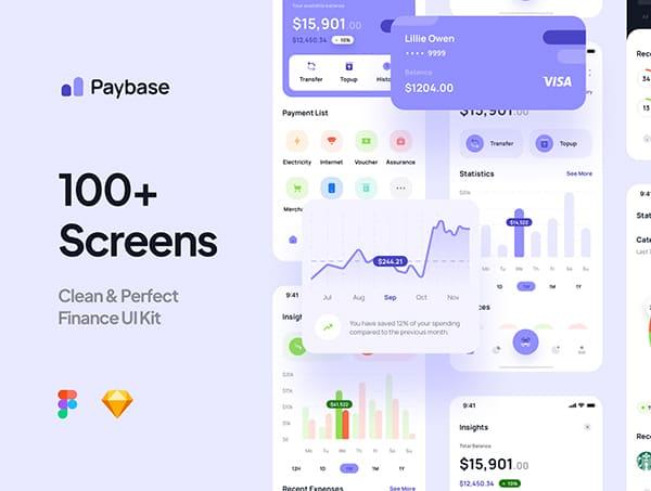 100+紫色风格金融财务类APP UI界面素材包