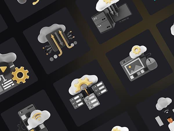一套黑金互联网数据安全图标BLENDER 3D素材包