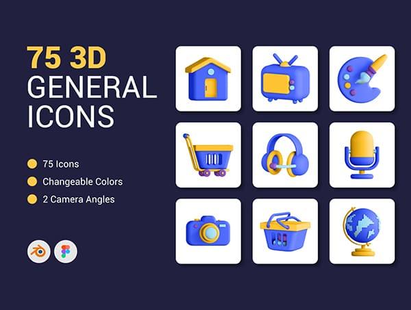 75个多种风格通用3D图标BLENDER素材