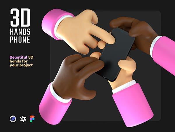 10个粉色3D手持手机C4D素材