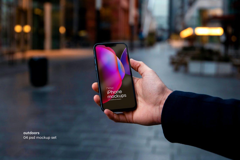 高品质手持iPhone手机产品PSD样机素材