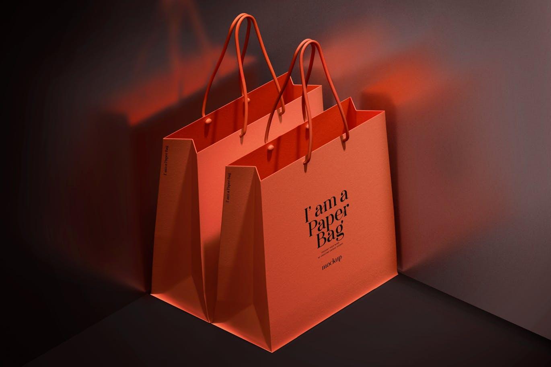 时尚高端购物袋手提袋纸袋设计样机PSD素材模型