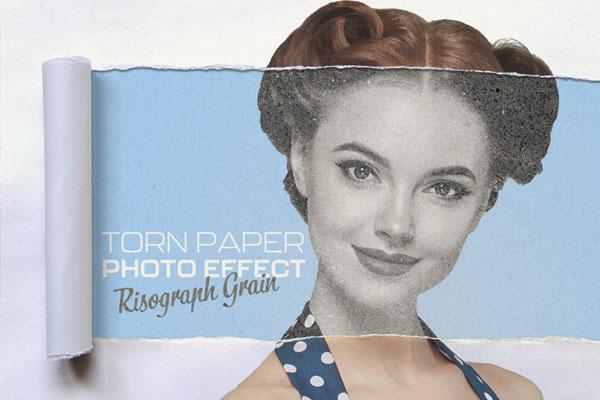 复古半色调撕纸照片效果PSD样机素材