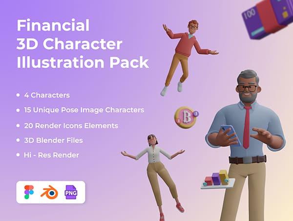一套金融人物类3D角色插画素材包