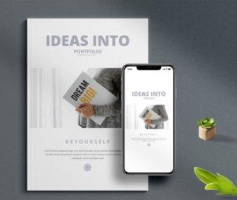 一套极简主义风格作品集手册VI设计素材模板