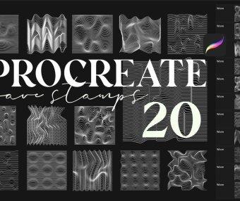 20个高端抽象波浪线procreate笔刷集合